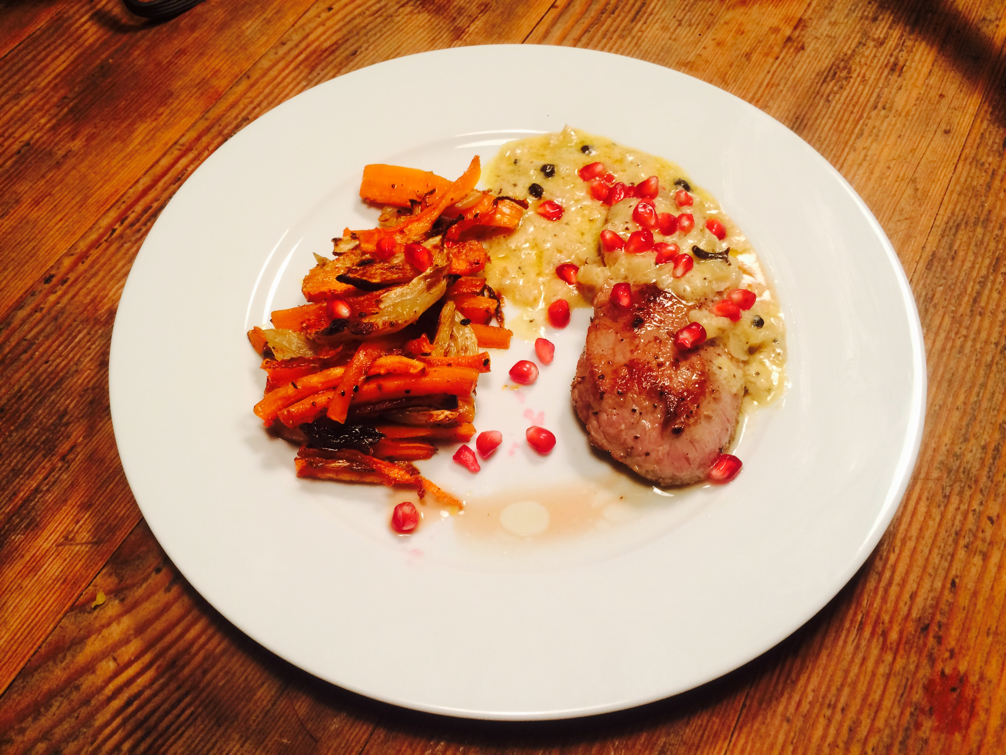 Veal Cutlet with Gin-Juniper Berry Sauce, Fennel and Carrots
