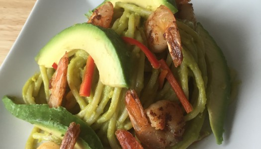 Spaghetti – Salad with Avocado and Shrimp