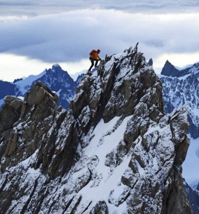 Aig. Blanches de Peuterey, Peuterey Grat, Mont Blanc, Italien; Climber Ueli Steck Aig. Blanches de Peuterey, Peuterey ridge, Mont Blanc, Italy; Climber Ueli Steck
